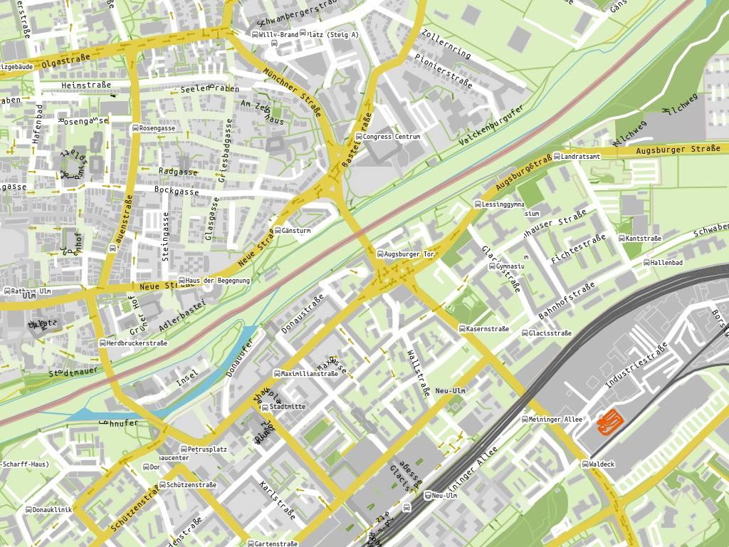 Stadtplan Anlieferung (GLACIS-GALERIE), Neu-Ulm